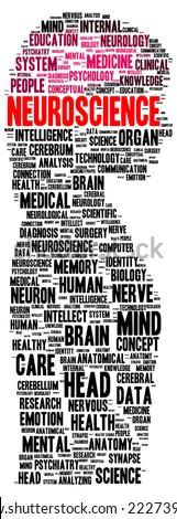 Neuroscience word cloud shape concept - stock photo