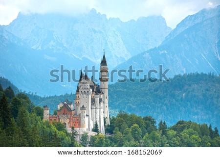Neuschwanstein castle (Bavaria, Germany). - stock photo