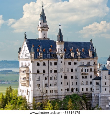 Neuschwanstein Castle, Bavaria, Germany. Close up view. - stock photo