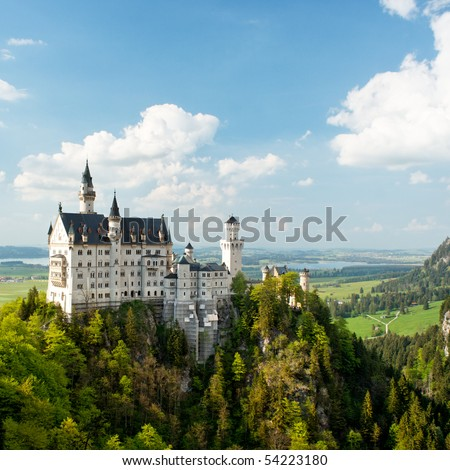 Neuschwanstein Castle, Bavaria, Germany. Square. - stock photo