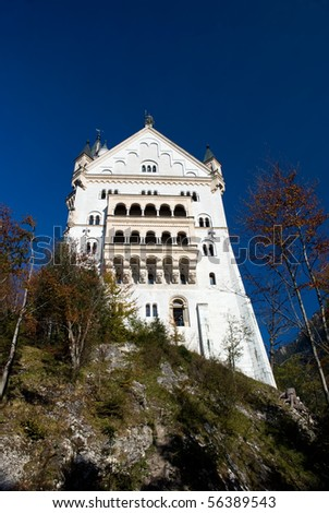 Neuschwanstein castle, bottom view of the west side of the castle with some rocks and trees in the foreground and clear blue sky in the background