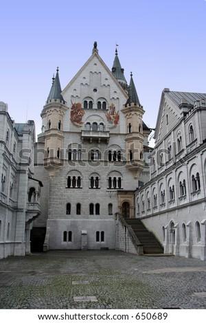 Neuschwanstein castle cortyard - stock photo