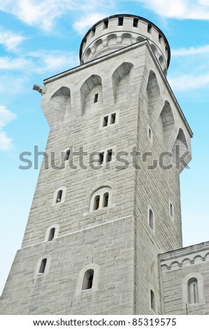 Neuschwanstein Castle Court Yard, Germany - stock photo