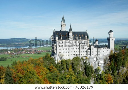 Neuschwanstein  castle in Bavaria - stock photo