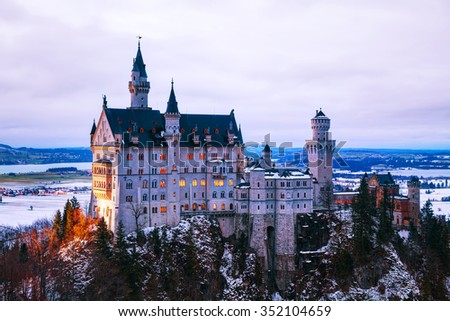 Neuschwanstein castle in Bavaria, Germany at winter time - stock photo