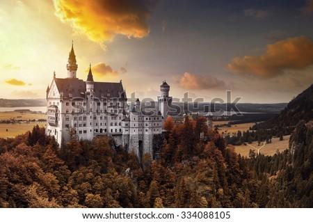 Neuschwanstein Castle in Bavaria, Germany in Autumn - stock photo