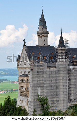 Neuschwanstein Castle in Bavaria Germany Tourist Attraction Destination - stock photo
