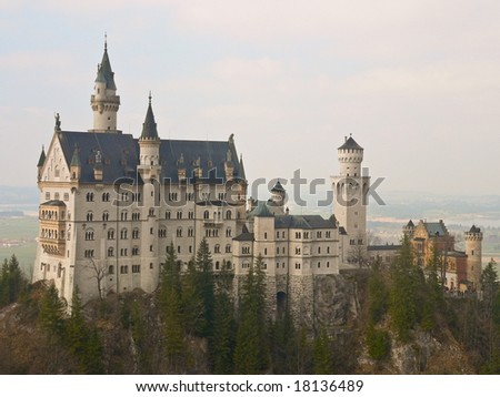 Neuschwanstein castle in Bavarian Alps - stock photo
