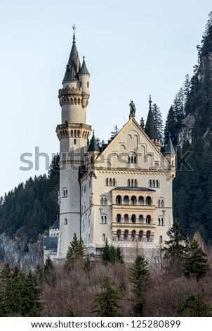 Neuschwanstein castle in the Bavaria Alps - Tirol, Germany - stock photo