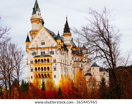 Neuschwanstein castle, one of the most popular of all the palaces and castles in Europe.