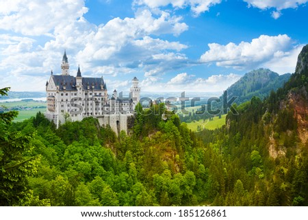 Neuschwanstein castle panorama fortress in Bavaria, Germany - stock photo