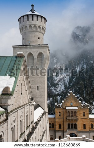 Neuschwanstein Castle - Tower & Main Visitor's Entrance - stock photo