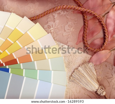 Neutral and pink interior decoration plan with swatches