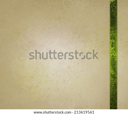 neutral beige or off white background with green ribbon trim accent - stock photo