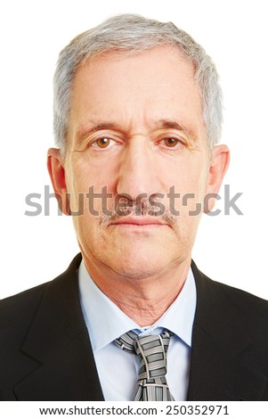 Neutral face of old business man for biometric passprt photo
