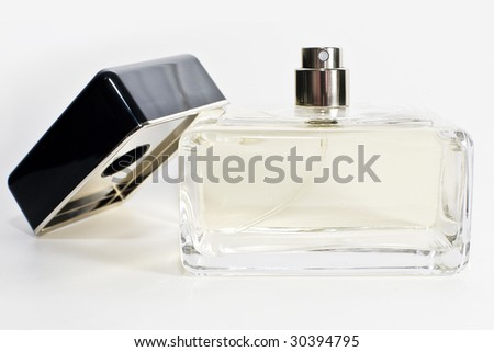 Neutral perfume bottle. - stock photo