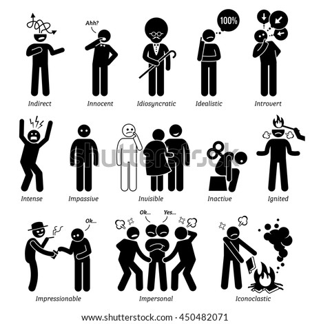 human man action emotion stick figure stock vector