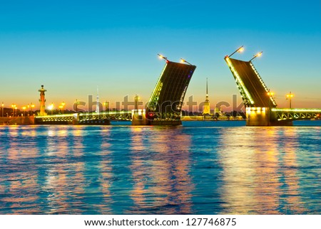 Neva river. Palace Bridge, Rostral Column, Peter and Paul Cathedral. White night in St.-Petersburg, Russia - stock photo