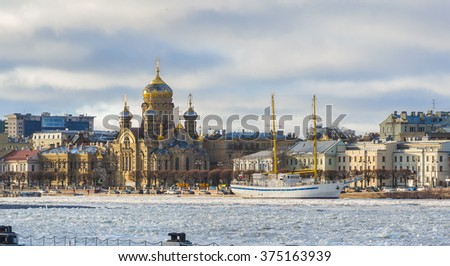 Neva river. Vasilievsky Island. St.-Petersburg, Russia - stock photo