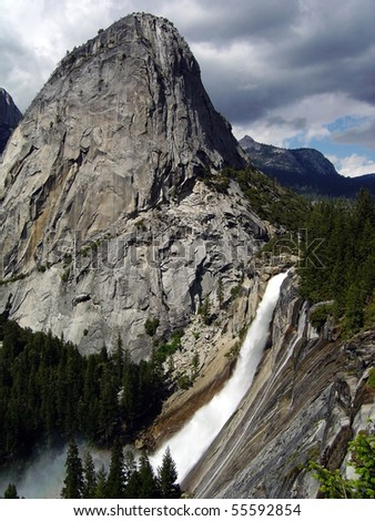 Nevada Falls and Liberty Cap at Yosemite National Park - stock photo