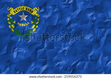 Nevada flag crumpled paper textured background
