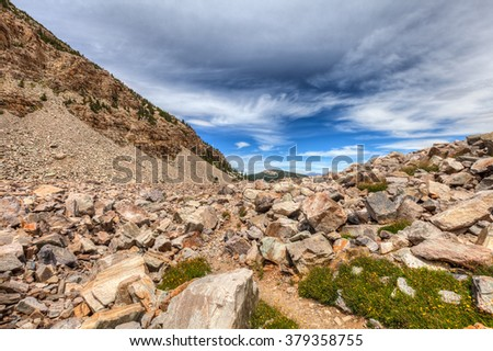 Nevada-Great Basin National Park-Bristlecone-Pine Trail. This trail leads through a grove of old Bristlecones, and further along, is, an interesting glacier and rocky area. - stock photo