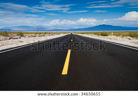 Nevada highway east of Death Valley National Park - stock photo