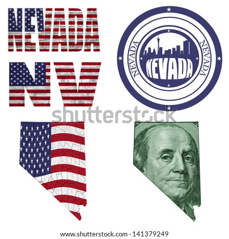 Nevada state collage (map, stamp,word,abbreviation) in different styles in different textures - stock photo