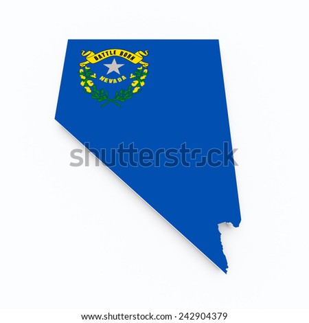 Nevada state flag on 3d map