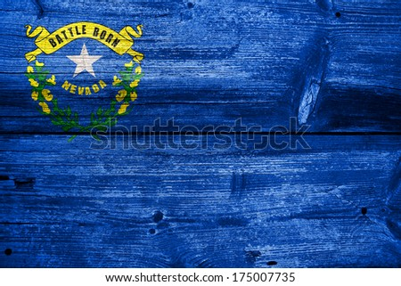 Nevada State Flag painted on old wood plank texture - stock photo