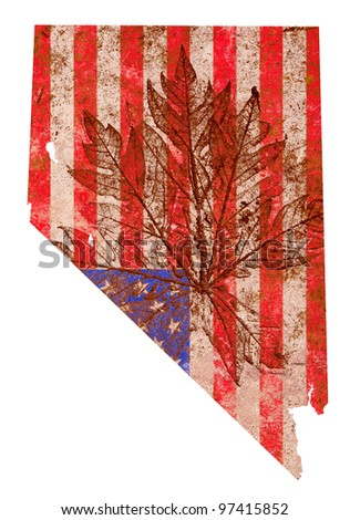 nevada state of the United States of America in grunge flag pattern isolated on white background - stock photo