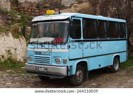 NEVSEHiR, TURKEY - MARCH 03, 2015:  Turkish shared buses in Kapadokya. This small buses are the most common way to travel on short distances in Turkey - stock photo