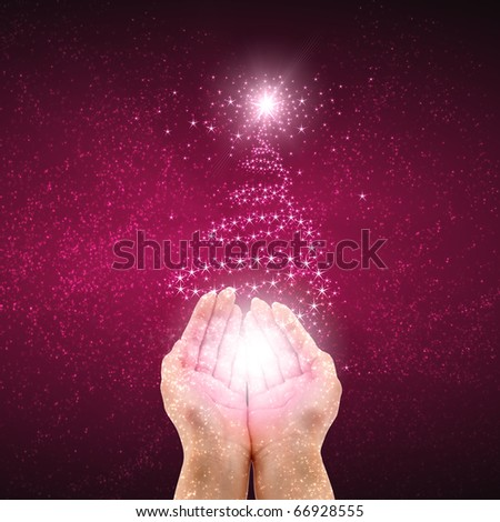 New abstract background with his arms and gifts. Happy New Year and Merry Christmas! - stock photo
