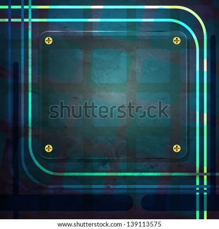 new abstract glass frame on blue background can use like modern design element - stock photo