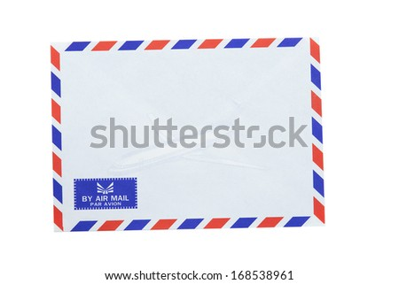 New air mail envelope on white background