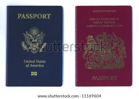 New American and European - United Kingdom - passports side by side - stock photo