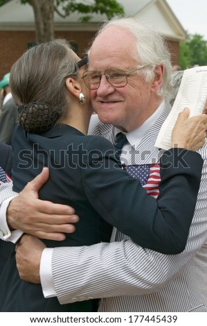 New American citizens at Independence Day Naturalization Ceremony on July 4, 2005 at Thomas Jefferson's home, Monticello, Charlottesville, Virginia. - stock photo