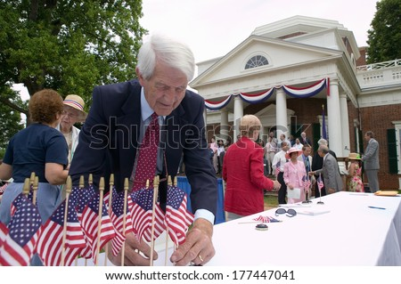 New American citizens at Independence Day Naturalization Ceremony on July 4, 2005 at Thomas Jefferson's home, Monticello, Charlottesville, Virginia - stock photo
