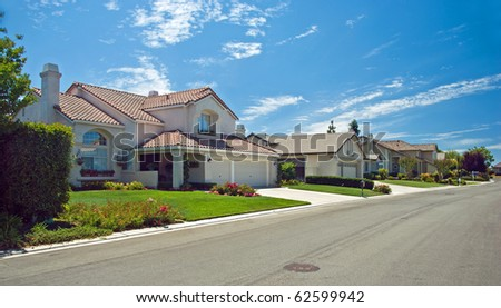 New American dream home panorama - stock photo