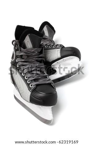new and modern black skates on white background - stock photo