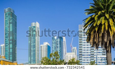 New and modern high rise buildings in San Francisco on a sunny day