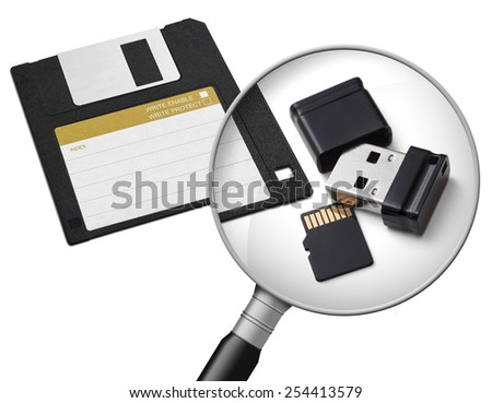 New and old data carriers. - stock photo