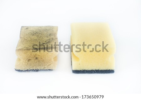 New and old dirty dish washing sponges isolated on white background - stock photo