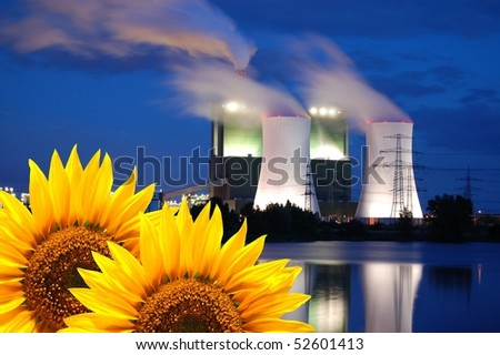new and old energy showing concept environment and power production - stock photo