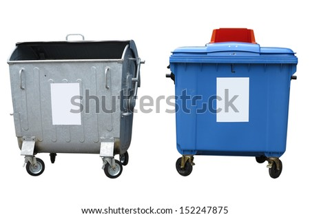 New and old garbage containers isolated over white background - stock photo