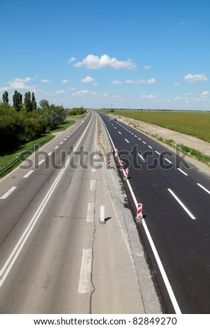 New and old highway in Vojvodina, Serbia known as corridor 10