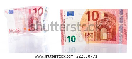 New and old ten euro banknote, isolated on white - stock photo