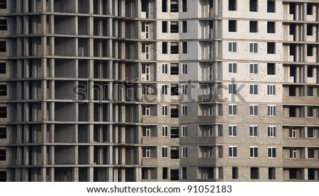 New apartment building under construction - stock photo