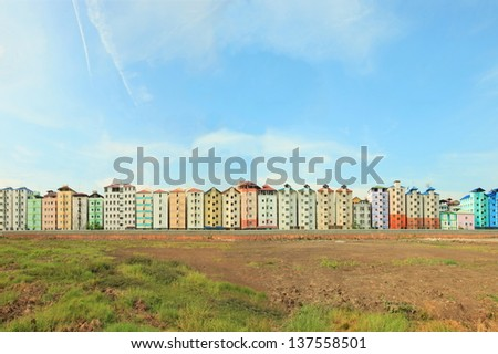 New apartment buildings of worker  - stock photo