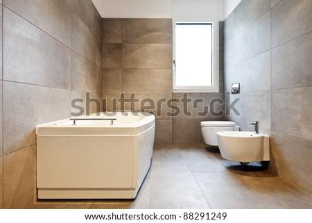 new apartment, empty bathroom - stock photo